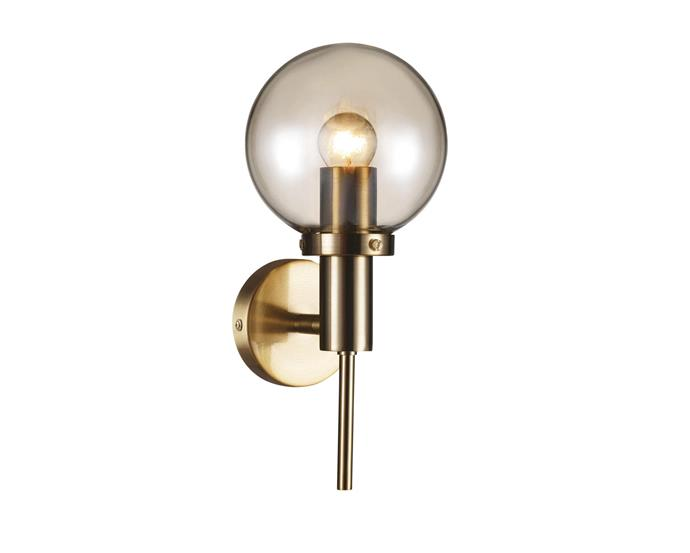 """Lucci Decor 'Santiso 1' brushed brass and amber-glass wall light, $199, at [Beacon Lighting](https://www.beaconlightingcommercial.com.au/santiso-1-light-wall-bracket-in-brushed-brass-amber