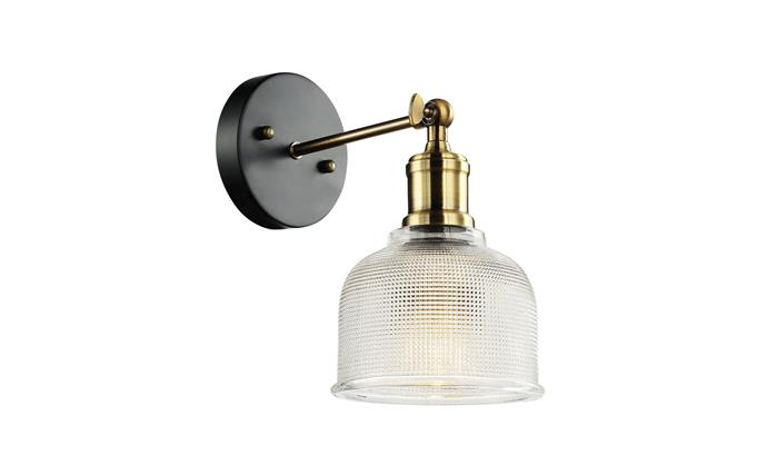 """Home Design 'Antica' brass and glass wall light in Black, $94, at [Bunnings](https://www.bunnings.com.au/home-design-antica-wall-light_p0018268