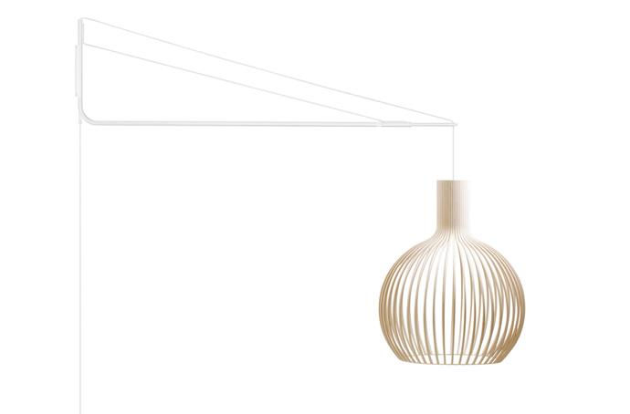 """Secto Design 'Varsi 1000' powdercoated-steel suspension arm in White, from $935, and 'Octo 4240' birch slat lampshade in Natural, from $1435, at [Fre International](https://fredinternational.com.au/