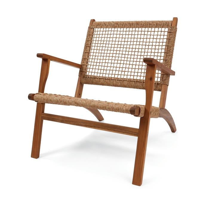 "Rattan look Timber Occasional Chair, $49, [Kmart](https://www.kmart.com.au/product/timber-occasional-chair/2287347|target=""_blank""
