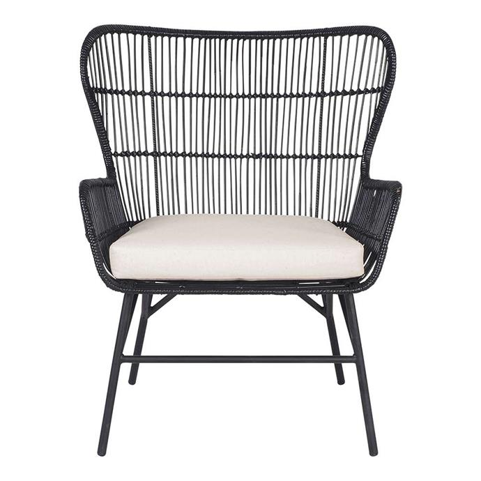 "Kubu Black Ratan Chair, $299, [Early Settler](https://www.earlysettler.com.au/kubu-black-ratan-chair|target=""_blank""