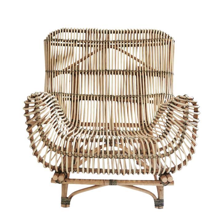"Bayu Oversized Rattan Armchair, $995, [Nutmeg Home](http://www.nutmeghome.com.au/bayu-oversized-rattan-armchair/|target=""_blank""|rel=""nofollow"")"