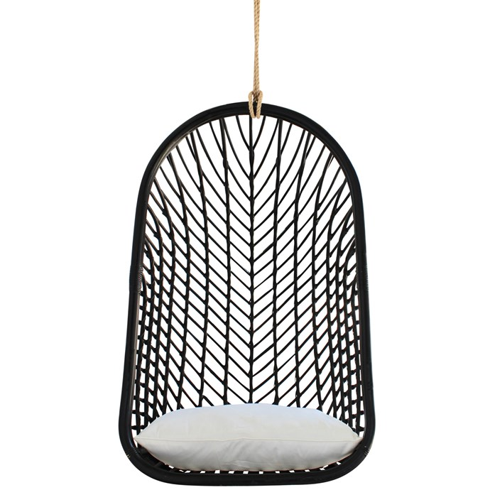 """The Palms Rattan Hanging Chair in Black, $499, [Temple & Webster](https://www.templeandwebster.com.au/The-Palms-Rattan-Hanging-Chair-HDLI1002.html