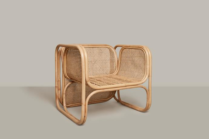 "'The Cane Lounger' in Natural, $869, [Worn](https://wornstore.com.au/product/the-cane-lounger-natural/|target=""_blank""