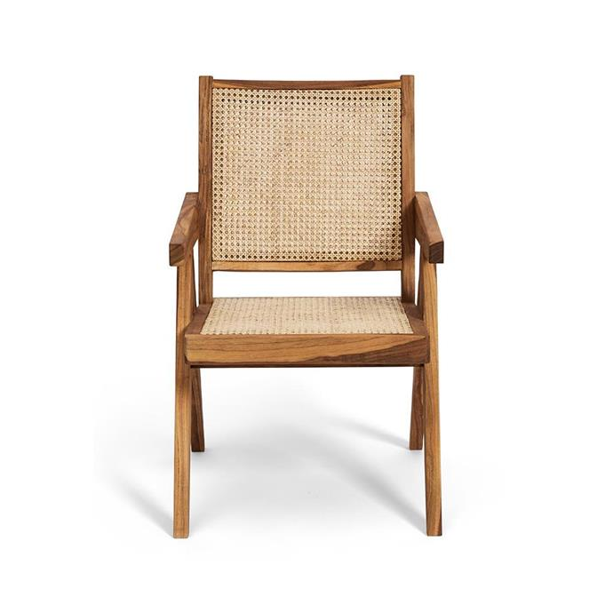 "Solid Timber Net Dining or Armchair, $599, [Harpers Project](https://www.harpersproject.com/collections/new-arrivals/products/solid-timber-net-dining-chair|target=""_blank""