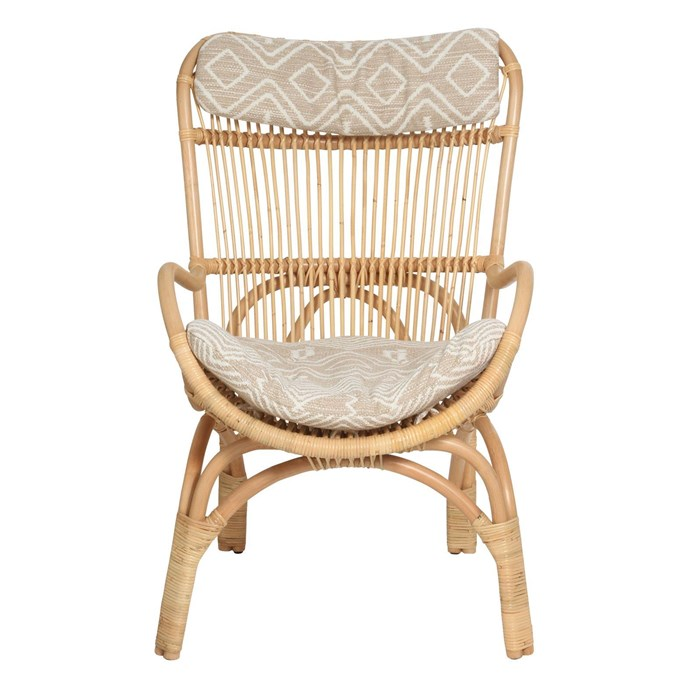 """Slouch Chair in Natural, $495, [Family Love Tree](https://www.thefamilylovetree.com.au/slouch-chair-natural