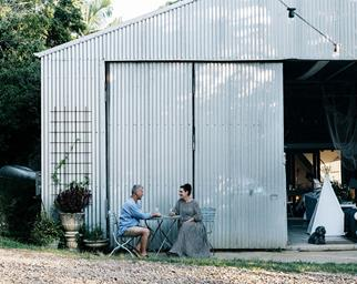 Converted shed home exterior outdoor seating area