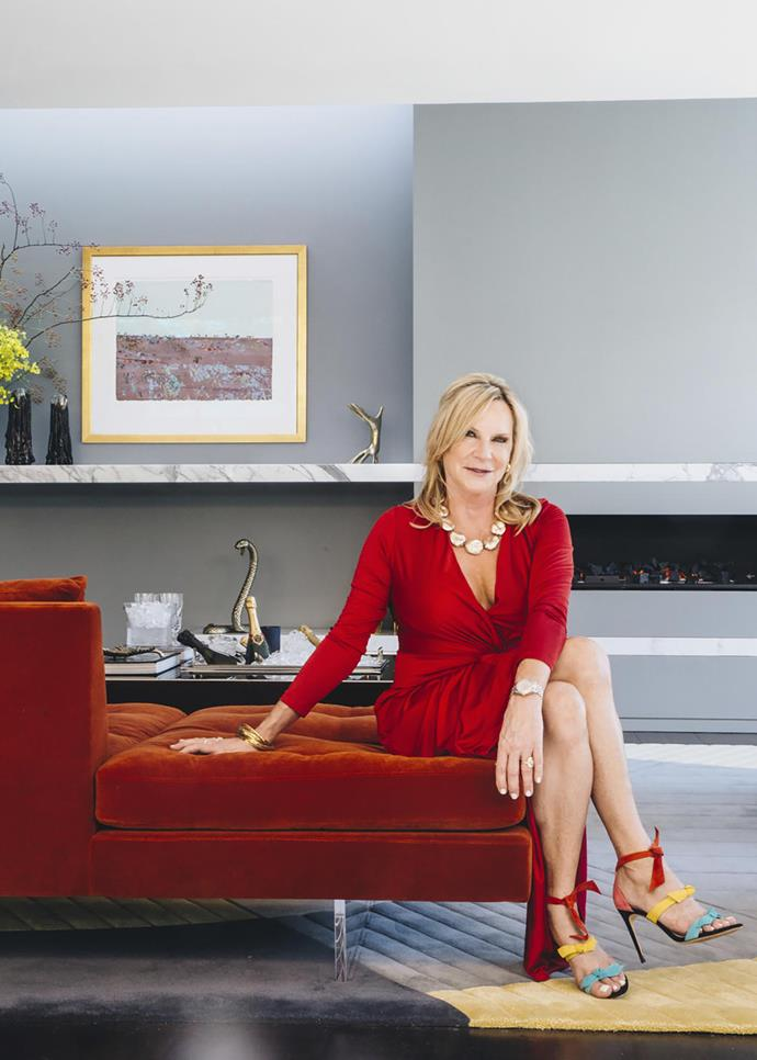 Skye Leckie in her living room; artwork by Fred Williams.
