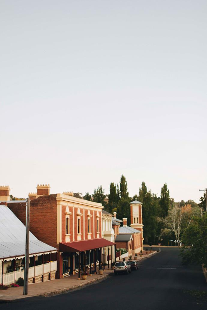 The main road of the historic village of Carcoar, NSW. Belinda Satterthwaite's store, Tomolly, is housed within The Terraces, built in 1876.