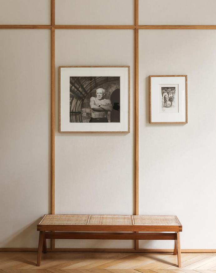 In the main bedroom, the walls are clad 