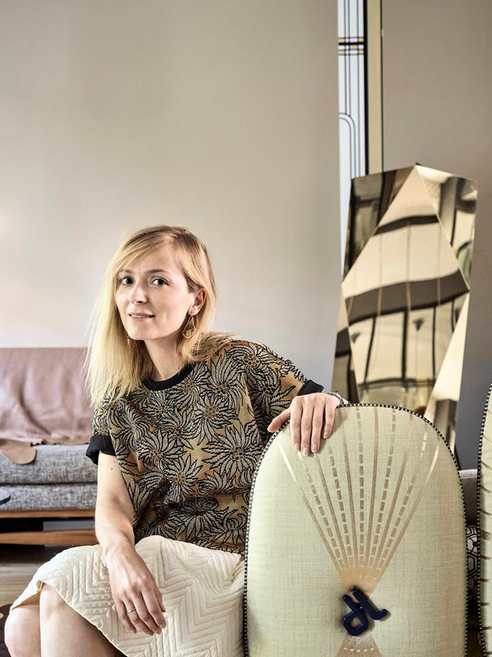 """When asked to choose one favourite piece of furniture, homeowner Laure (pictured) nominates her My Beautiful Backside couch designed by Doshi & Levien, which she affectionately describes as """"a real madness!""""."""