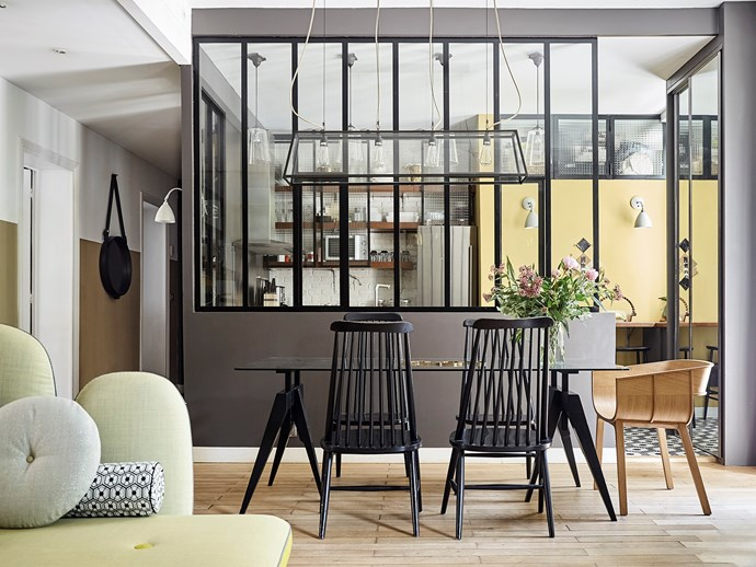 Laure's favourite lighting brand, Original BTC, features throughout the home, including the magnificent Diner by Davey Lighting chandelier above the table.