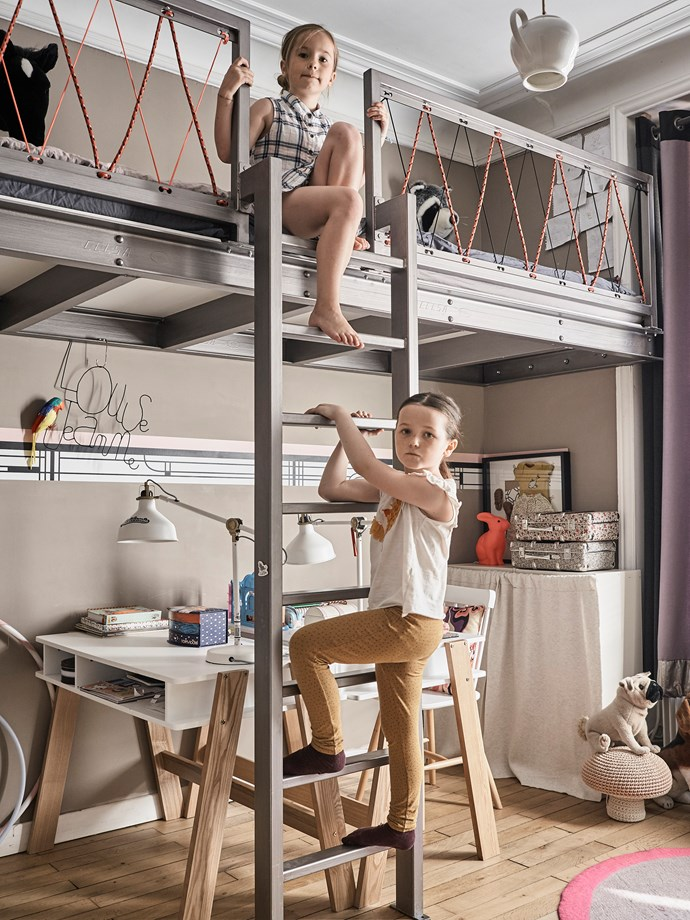 Laure designed daughters Jeanne and Louise's iron bunk beds and desks and had them custom made.