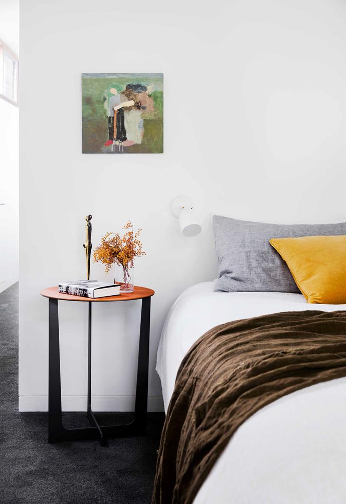 "**Bedroom** Intriguing pieces and bursts of warm colour enliven the neutral base palette. Poltrona Frau 'Illary' side table, [Cult](https://cultdesign.com.au/|target=""_blank""