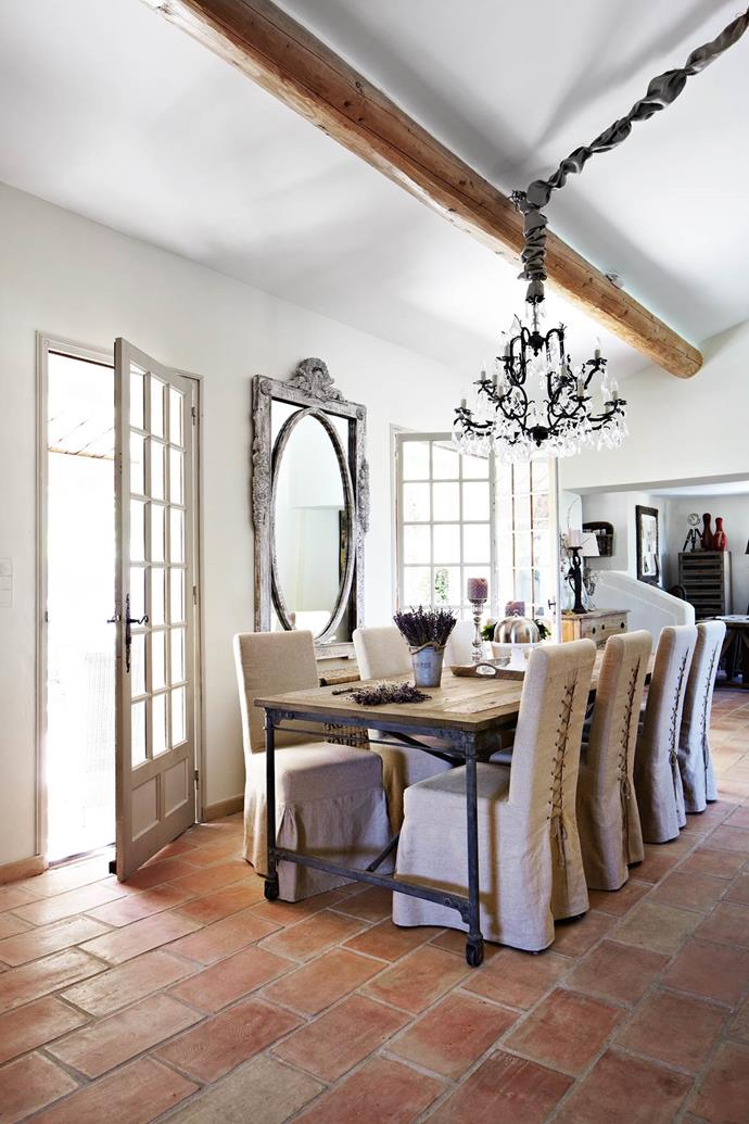 "Built in the Provençal style, this [villa in the south of France](https://www.homestolove.com.au/this-home-away-from-home-is-a-designer-french-dream-3809|target=""_blank"") is typical of the local architecture with elaborate use of stone, high ceilings with large beams and shuttered doors and windows. *Photograph*: Armelle Habib"