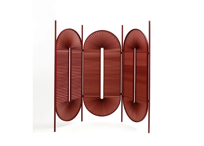 """Dante 'Minima Moralia' powdercoated-steel and folded-fabric three-unit room divider in Bordeaux, $5875, at [Domo](https://www.domo.com.au/product/minima-screen-bordeaux/