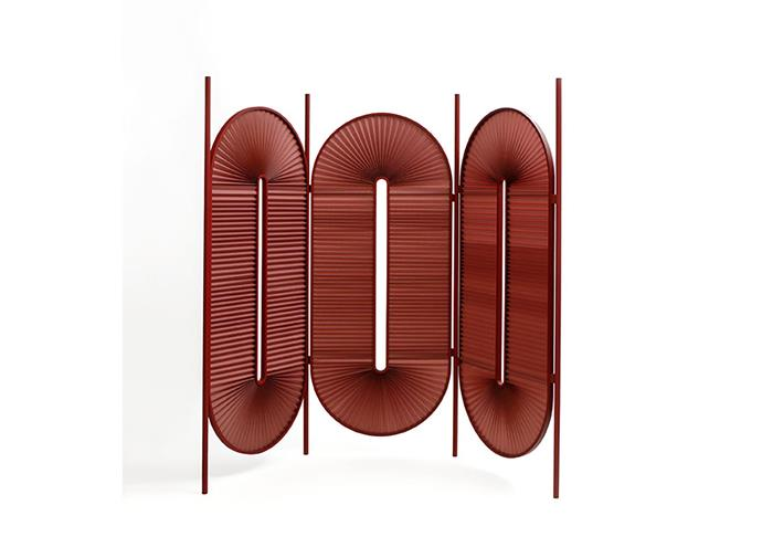 "Dante 'Minima Moralia' powdercoated-steel and folded-fabric three-unit room divider in Bordeaux, $5875, at [Domo](https://www.domo.com.au/product/minima-screen-bordeaux/|target=""_blank""