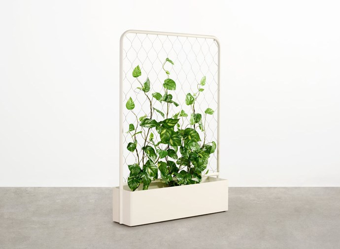 """'Trace' aluminium and stainless-steel mesh planter in Surfmist (1.17m), $1660, at [Tait](https://madebytait.com.au/product/trace-planter/