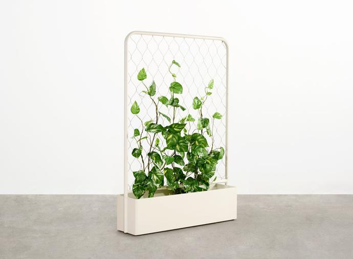 "'Trace' aluminium and stainless-steel mesh planter in Surfmist (1.17m), $1660, at [Tait](https://madebytait.com.au/product/trace-planter/|target=""_blank""
