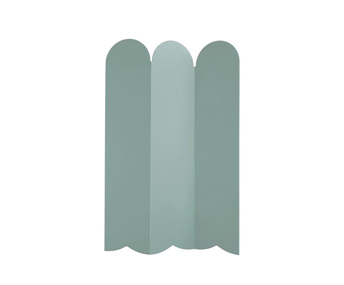 """'Picket' 80%-recycled HDPE plastic indoor and outdoor room divider in Sage, $1195, at [Design By Them](https://www.designbythem.com/products/picket-room-divider?variant=7824669868060