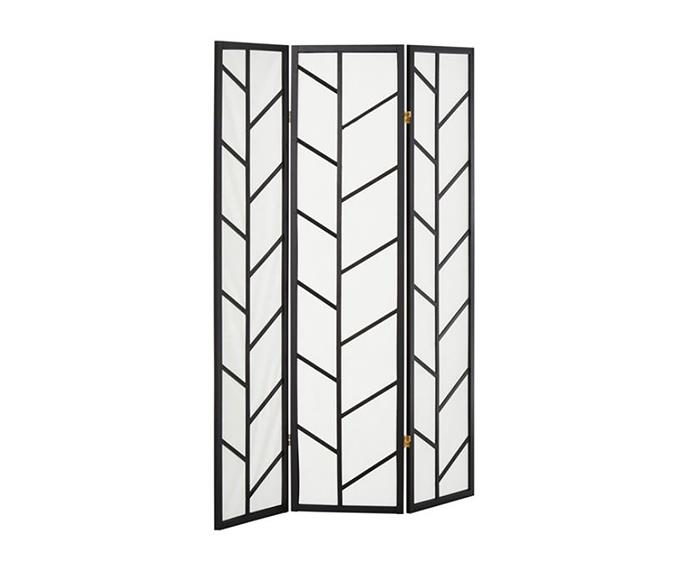 "'Akiko' three-panel screen, $129, at [Fantastic Furniture](https://www.fantasticfurniture.com.au/Categories/Home-Accessories/Screens/Akiko-Screen/p/AKISCROOOOOOMDFBLK|target=""_blank""