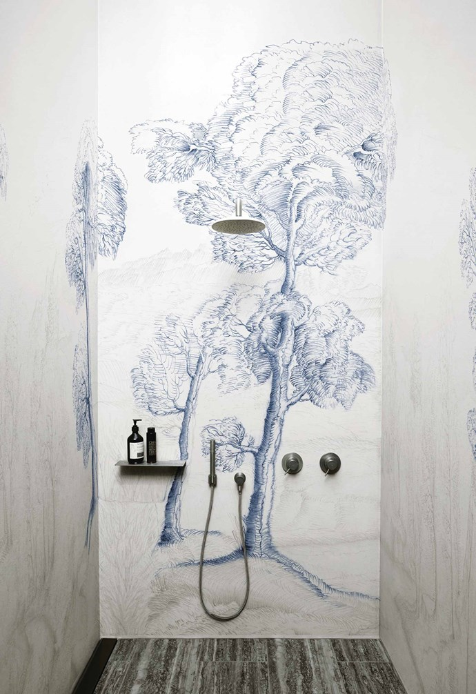 "**Wall-to-wall art** <br><br>Let's face it, [wallpaper](https://www.homestolove.com.au/statement-wallpaper-designs-5696|target=""_blank"") and wet areas haven't always gone hand-in-hand, but thankfully there is now a range of purpose-designed wallcoverings suitable for bathrooms, kitchens and spas. <br><br>Wet System decorative wallpapers by Italian company [Wall&Decò](https://www.wallanddeco.com/