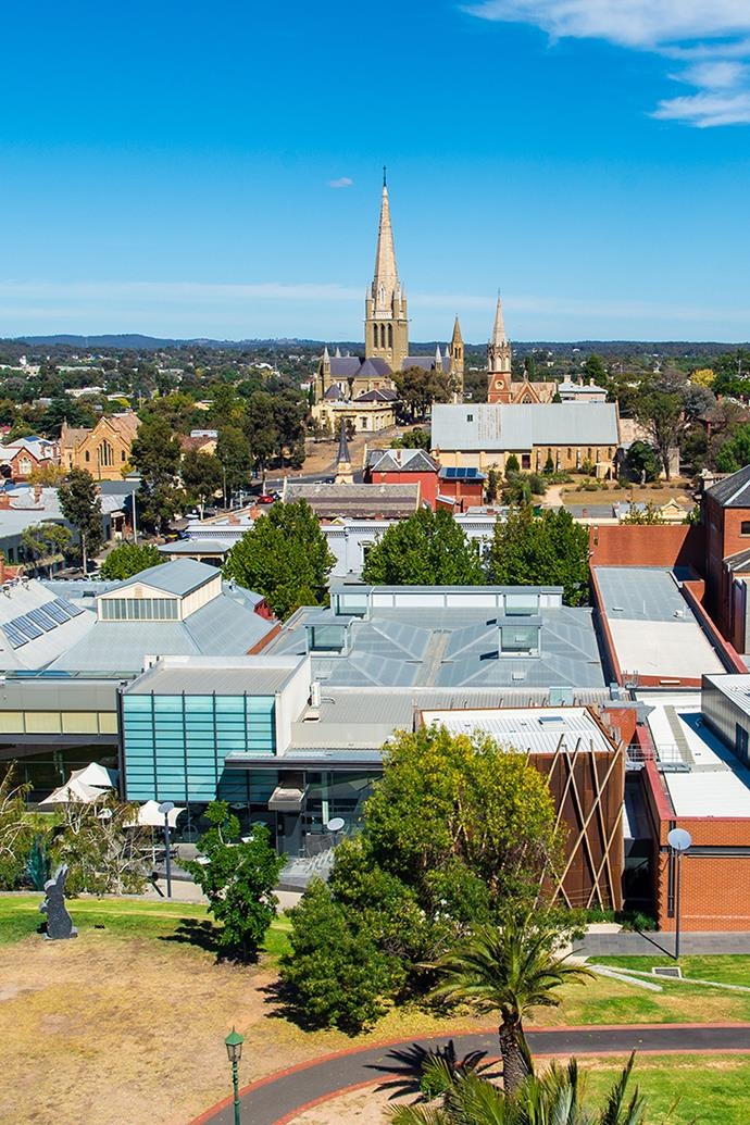 An overhead view of Bendigo, with Bengido Art Gallery in the foreground. *Photo: Getty*