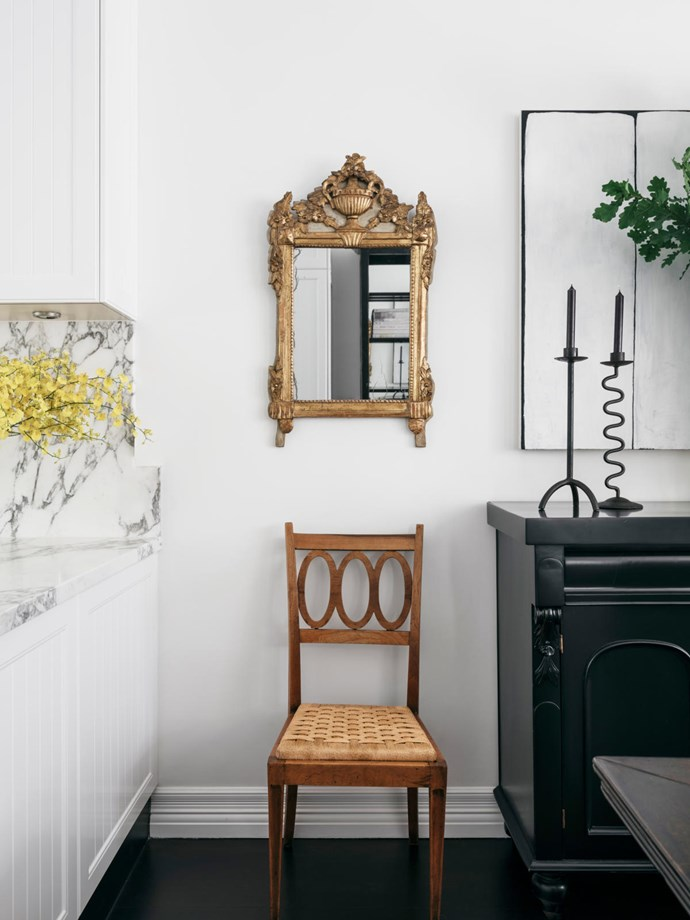 Joinery and walls throughout painted in Resene 'Quarter Rice Cake'. Mirror and chair from The Vault Sydney. Custom-made candlesticks.