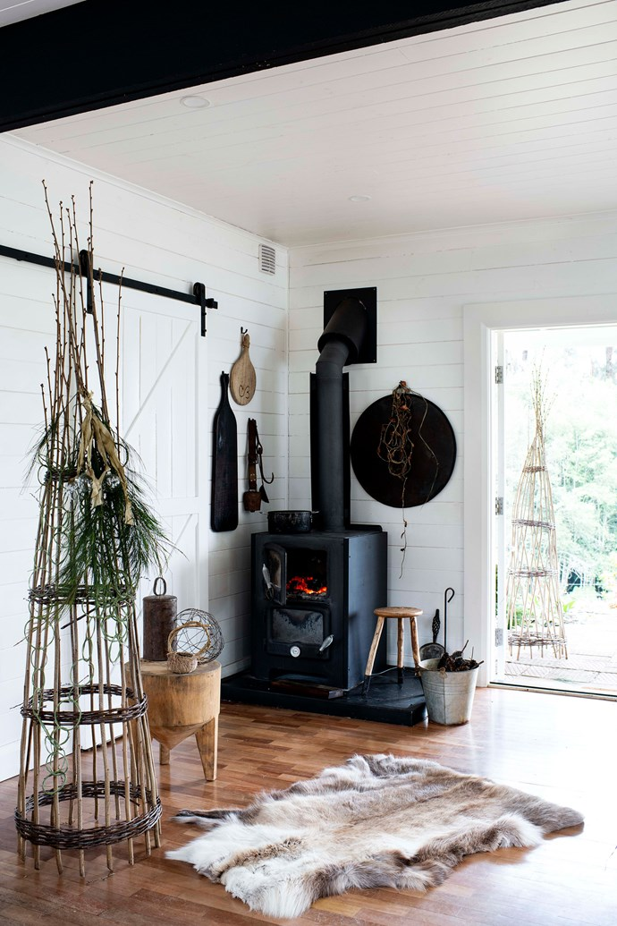 "The garden tower is a Mr & Mrs Munro creation while the stools throughout the house were made by Colin. The heater is from Nectre and the hide rug is from [1803](https://1803.com.au/|target=""_blank""