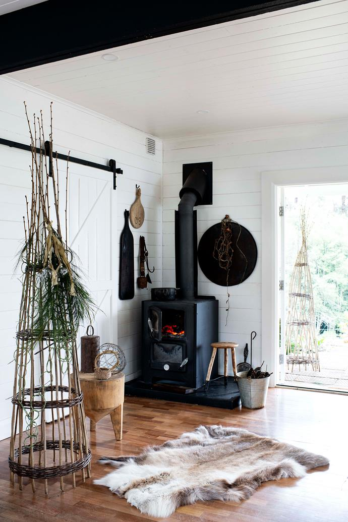 """The garden tower is a Mr & Mrs Munro creation while the stools throughout the house were made by Colin. The heater is from Nectre and the hide rug is from [1803](https://1803.com.au/