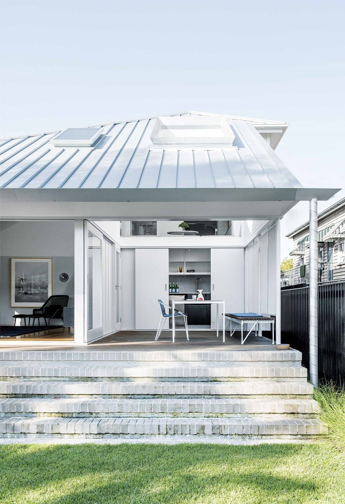 "**Outdoors** The home welcomes the outdoors in with flexible zones. ""When the new roof went on the downstairs living area, the tremendous height and volume of the room became obvious,"" says Mike."