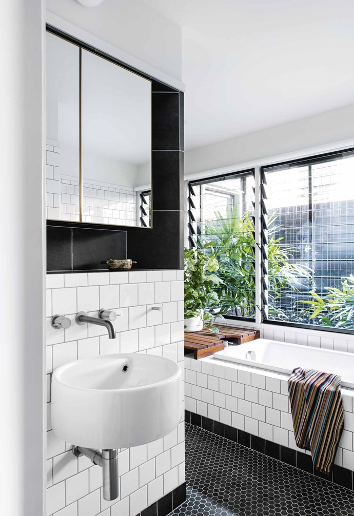"**Bathroom** Square glazed-ceramic wall tiles in white and black from [Metro Tiles](https://www.metrotiles.com.au/|target=""_blank""