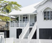 A classic, all-white timber Queenslander in Brisbane