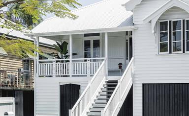 A classic, all-white timber Queenslander in Brisbane