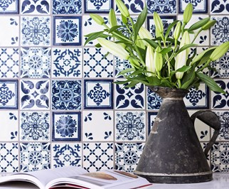 Artistic tiled bathroom