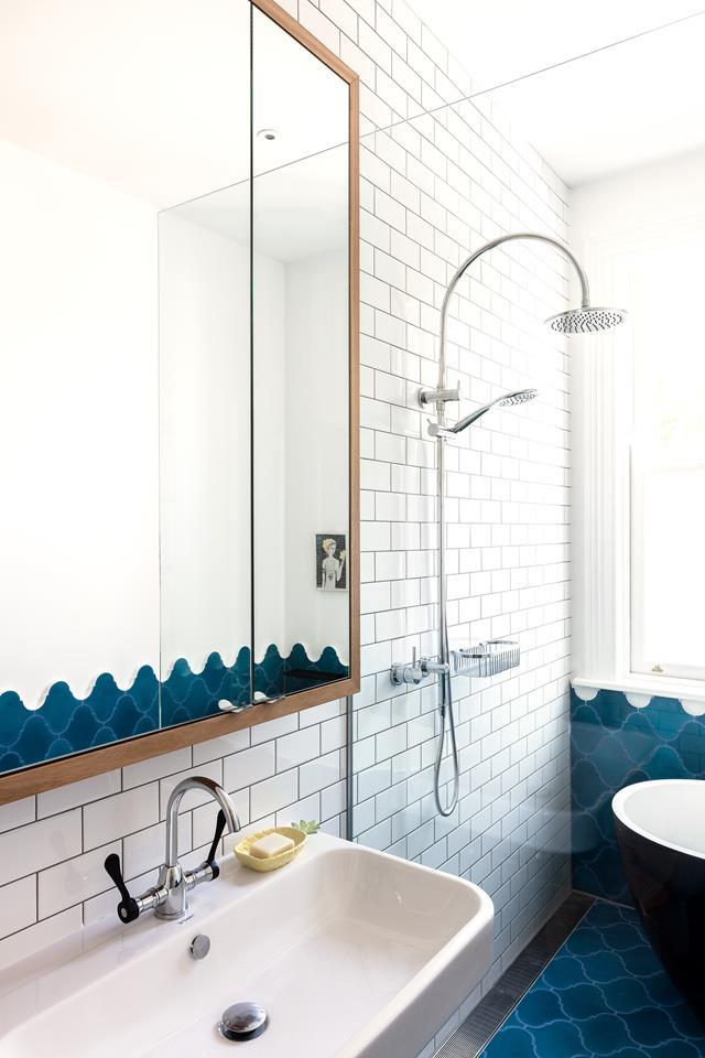 "Encaustic-cement tiles in cobalt blue from [Terranova](https://www.terranovastyle.com/|target=""_blank""