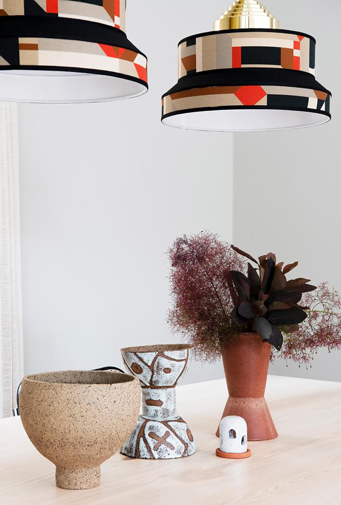 Graphic pendant lights sourced by Simone.
