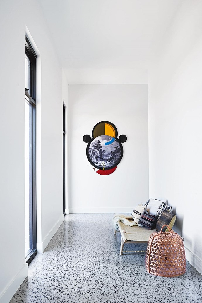 """Terrazzo flooring adds a charminig touch throughout this [cosy modern farmhouse](https://www.homestolove.com.au/step-inside-this-cosy-country-farmhouse-with-modern-interiors-17468