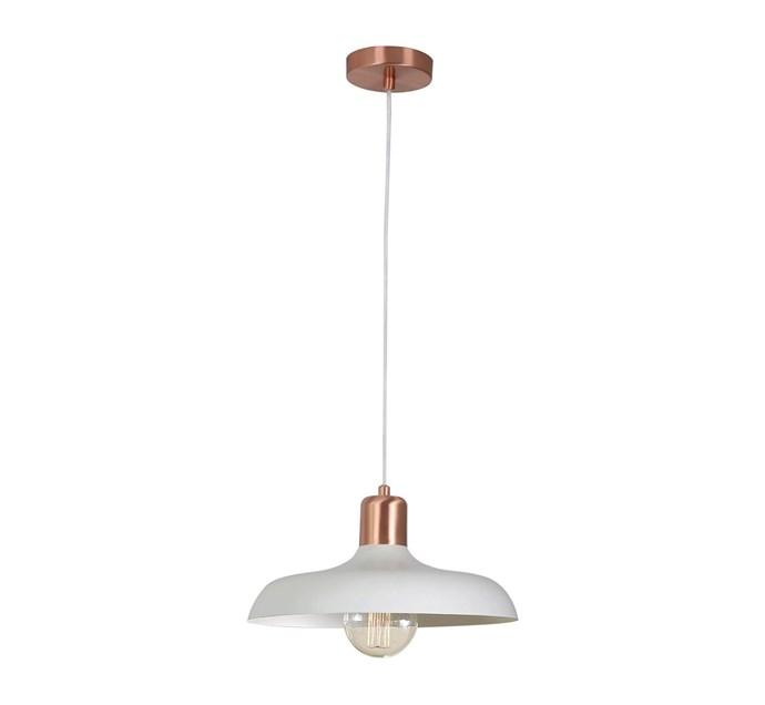 "Croft 1 Light Pendant in Brushed Copper/Chalk, $199, at [Beacon Lighting](https://www.beaconlighting.com.au/croft-1-light-pendant-in-brushed-copper-chalk|target=""_blank""|rel=""nofollow"")"