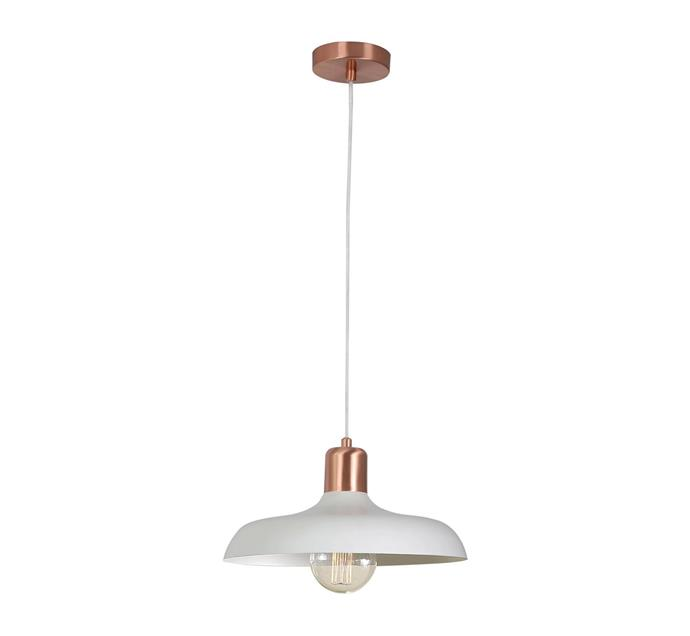 "Croft 1 Light Pendant in Brushed Copper/Chalk, $199, at [Beacon Lighting](https://www.beaconlighting.com.au/croft-1-light-pendant-in-brushed-copper-chalk|target=""_blank""