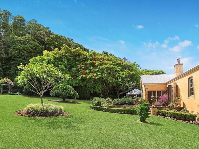 "A [frangipani tree](https://www.homestolove.com.au/how-to-grow-frangipani-8981|target=""_blank"") in the manicured garden immediately surrounding the home. *Photo: [McGrath](https://www.mcgrath.com.au/buy/house/nsw/northern-rivers/dalwood/393492