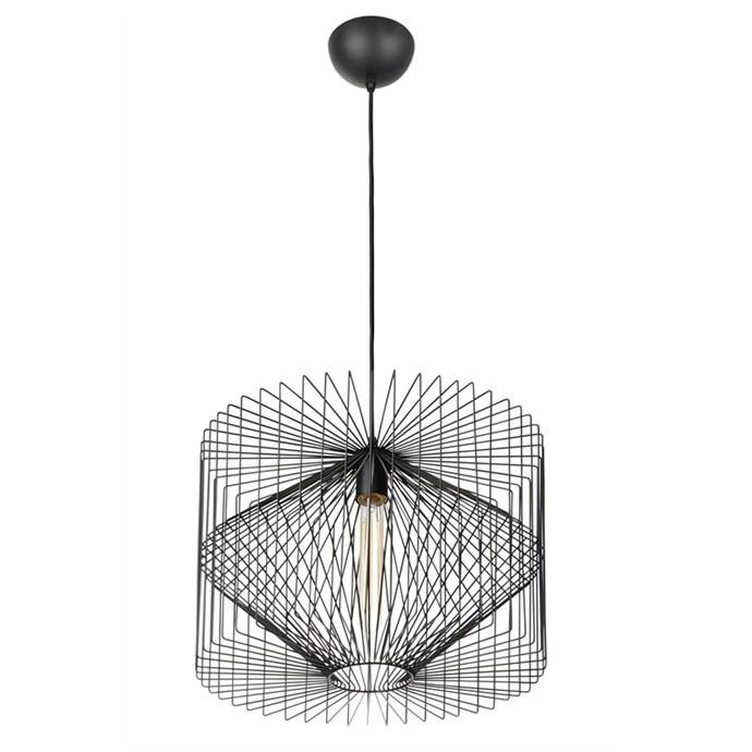 "Home Design Vogue Pendant Light Black, $157, at [Bunnings](https://www.bunnings.com.au/home-design-vogue-pendant-light-black_p7071556|target=""_blank""|rel=""nofollow"")"
