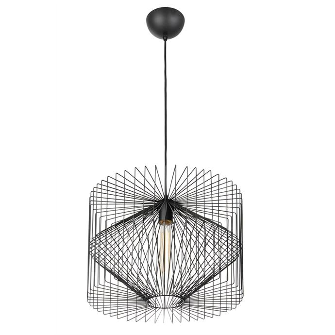 "Home Design Vogue Pendant Light Black, $157, at [Bunnings](https://www.bunnings.com.au/home-design-vogue-pendant-light-black_p7071556|target=""_blank""