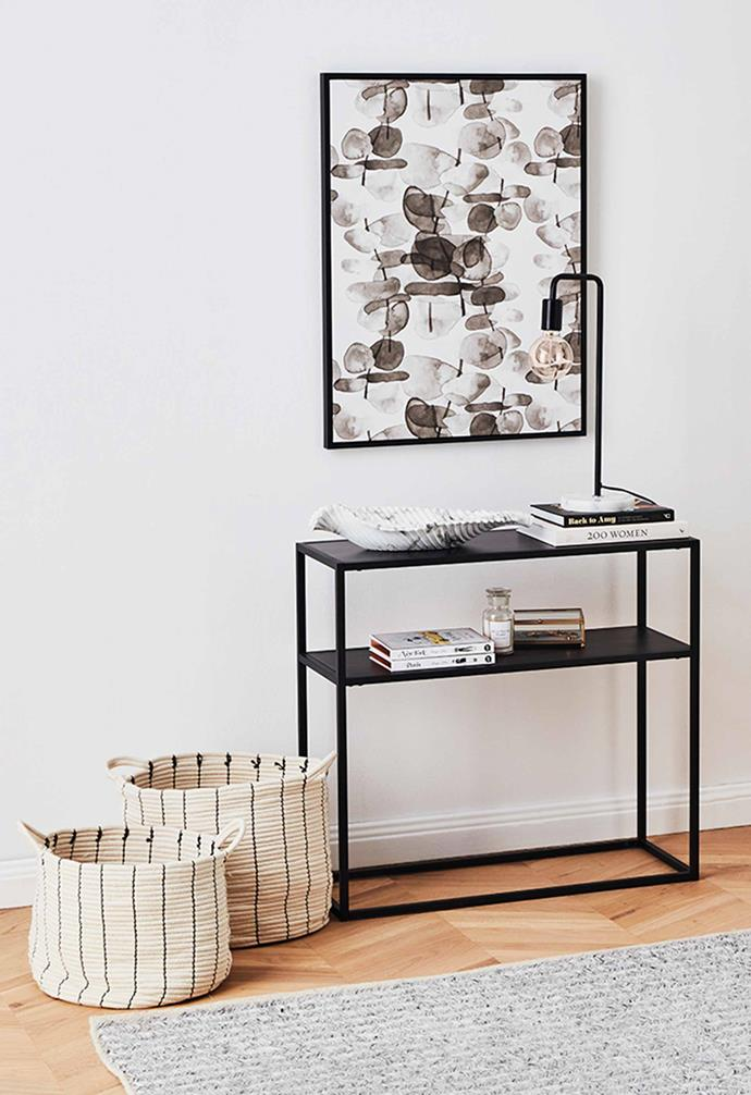 Kodu Agra **console**, $45, Deep **framed canvas**, $29, Lincoln marble **Table lamp**, $19.
