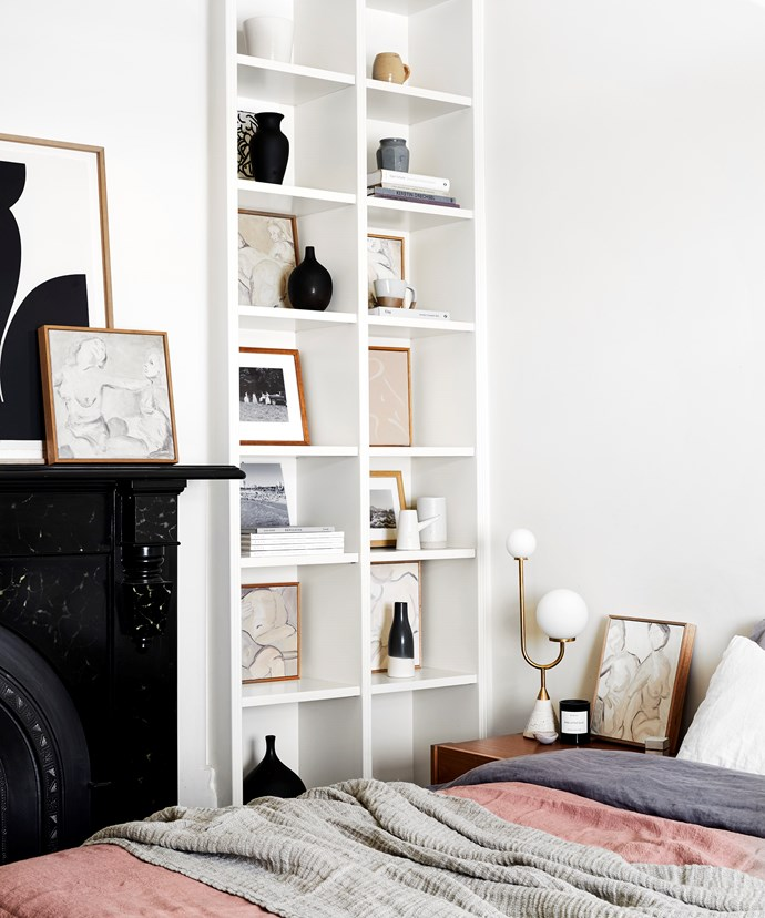 """Surrounded by books and art (including her own), Caroline works from her home studio in Melbourne where she lives with her wife Emma Hill and their cat Major Tom. """"The ability to wake up and start art-making works for me,"""" she explains. """"Having my studio in an open area of the house feels natural."""""""