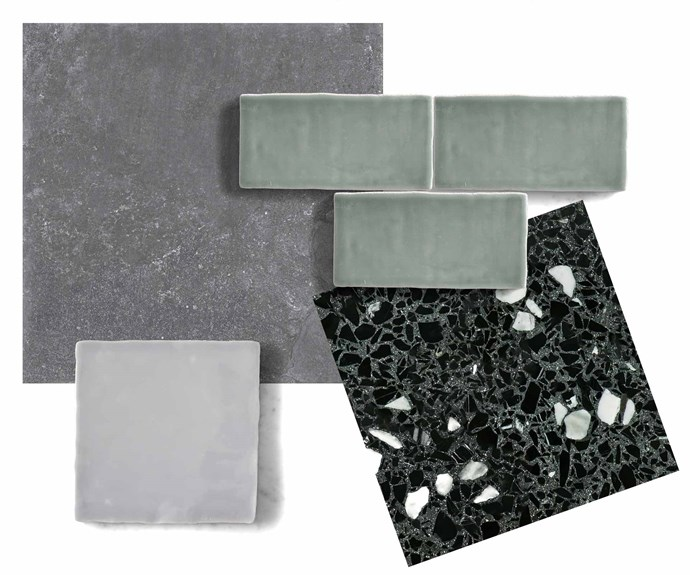 "**Top picks** (clockwise from left) Chateau Noir porcelain tile (600 x 600mm), $65 per sq m, [Di Lorenzo](https://www.dilorenzo.com.au/|target=""_blank""