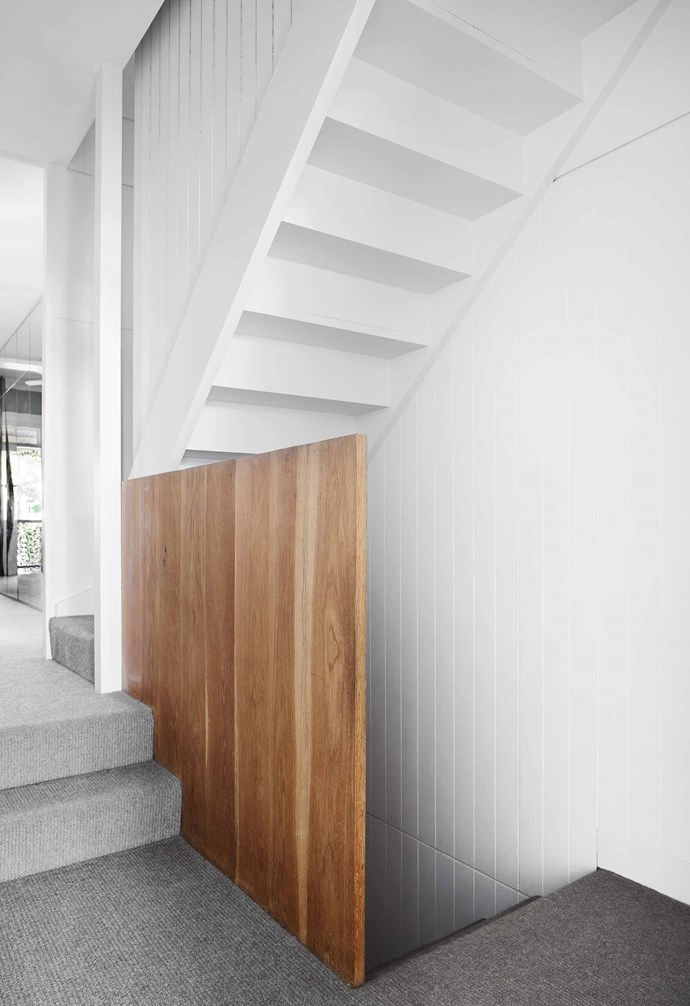 """**Landing** The staircase stretches across three floors, with oak balustrades and Alpaca wool carpet on the treads. Paint colour throughout is [Dulux](https://www.dulux.com.au/