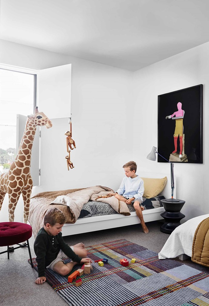 """**Boys' room** Jude and Felix share a bedroom with a giraffe from Adrienne & The Misses Bonney. Zanotta side table. Wallace & Sewell rug, [Spence & Lyda](https://www.spenceandlyda.com.au/
