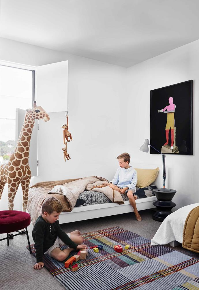 "**Boys' room** Jude and Felix share a bedroom with a giraffe from Adrienne & The Misses Bonney. Zanotta side table. Wallace & Sewell rug, [Spence & Lyda](https://www.spenceandlyda.com.au/|target=""_blank""