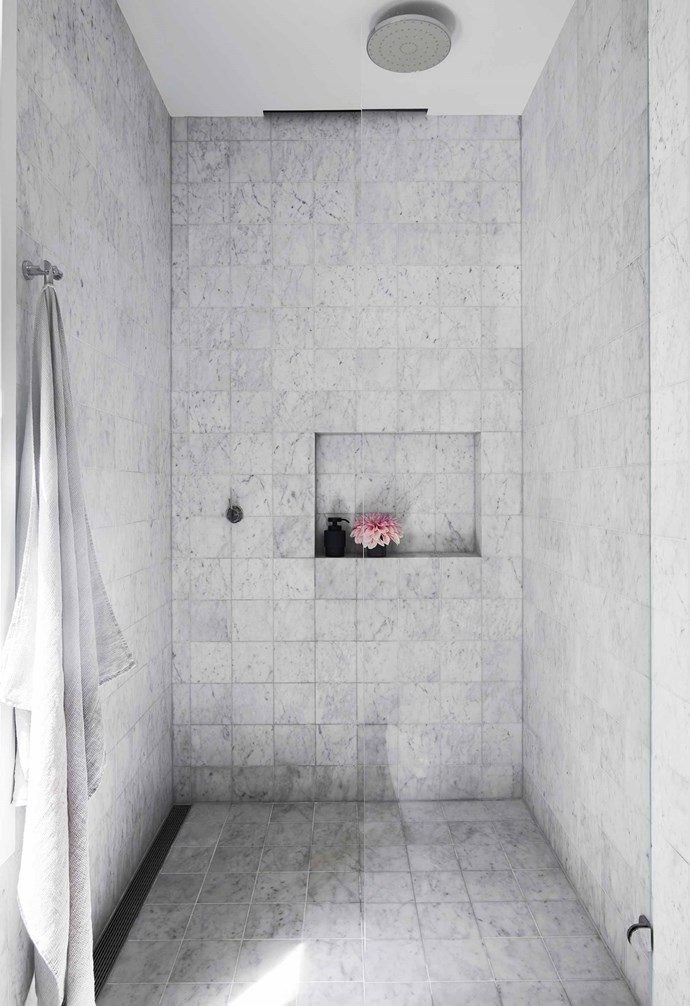 """**Ensuite** This roomy shower could fit the whole family. Shades high soap dispenser and toothbrush holder, [Oliver Thom](https://oliverthom.store/